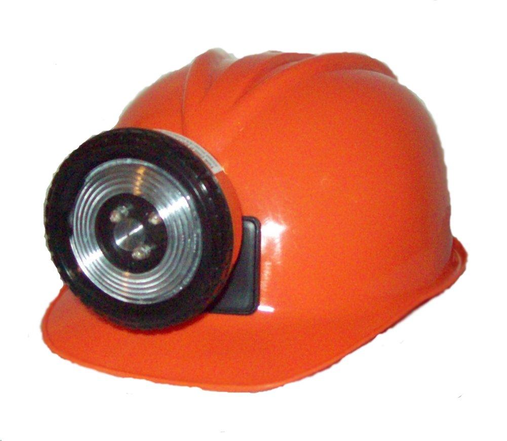 Childrens Orange Construction Lighted Miner Hard Hat