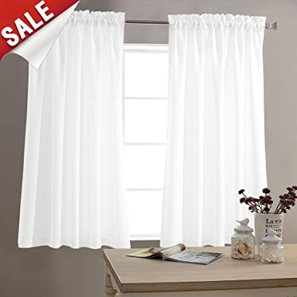 Ordinaire White Curtains 45 Inch Long Casual Weave Small Window Curtain Set 2 Panels  Kitchen Bathroom Basement