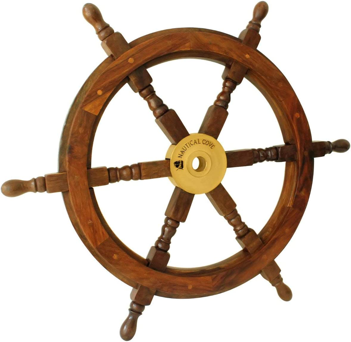 Nautical Cove Wooden Ship Wheel Pirate Decor, Ships Wheel for Home, Boats, and Walls 24 Diameter