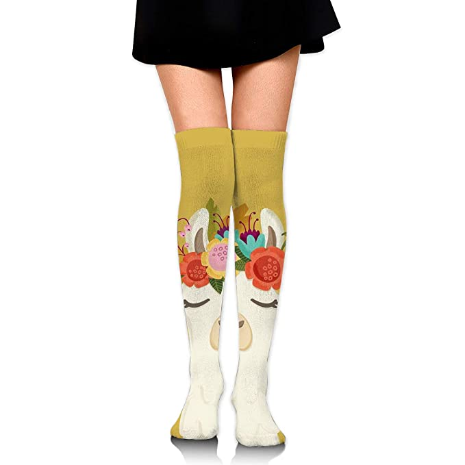 4da67e1b9 Amazon.com  COKKI 60cm Knee High Socks - Llama With Garland -Thigh High  Stockings For Women Girls  Clothing