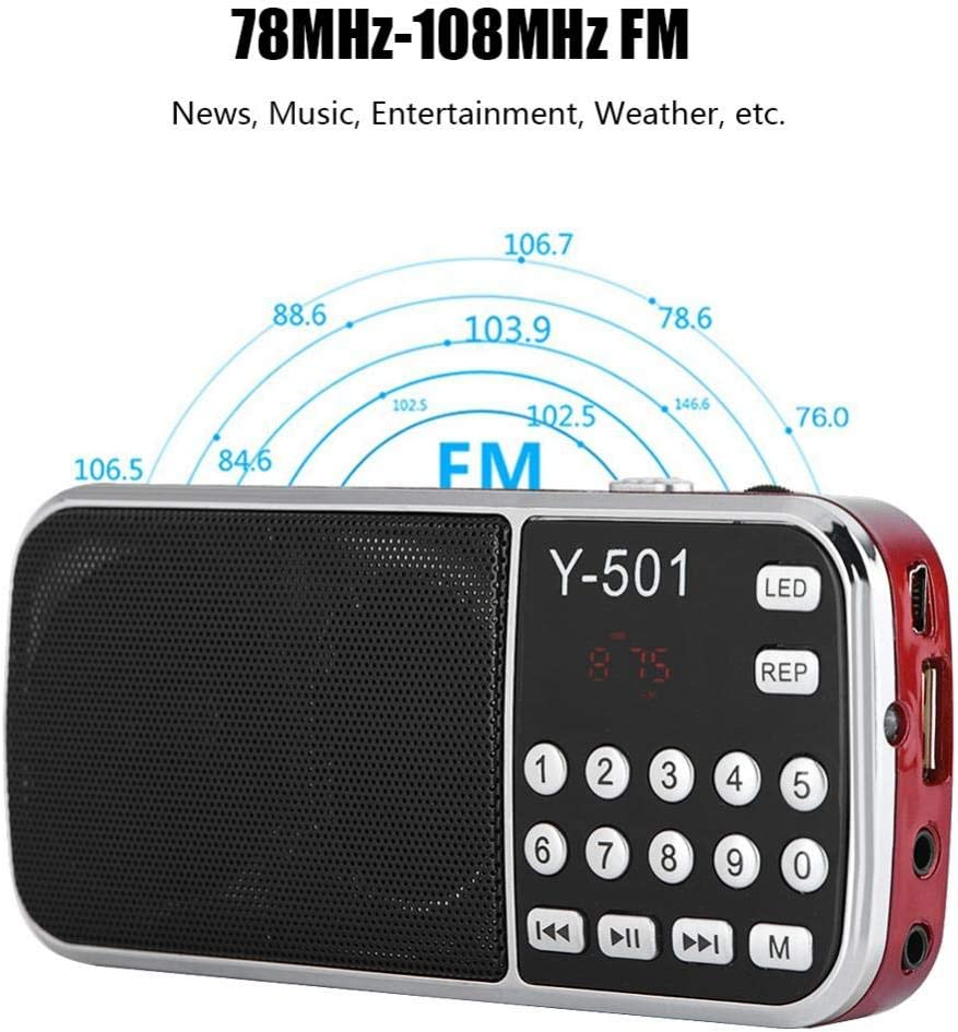 Wonderful Gift Blue Portable Radio Speaker 78-108MHz Stereo Audio Player High Sensitivity Noise Cancelling Digital TF Card Radio for Home Mini USB FM Radio