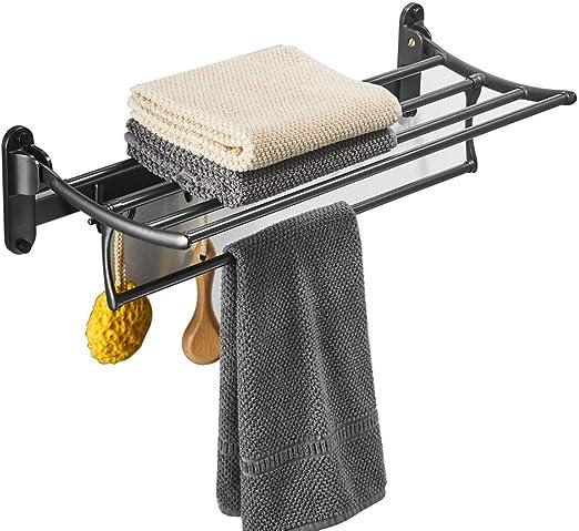 Black Oil Rubbed Bronze Bathroom Bath Double Towel Bar Holder Storage Rack Shelf
