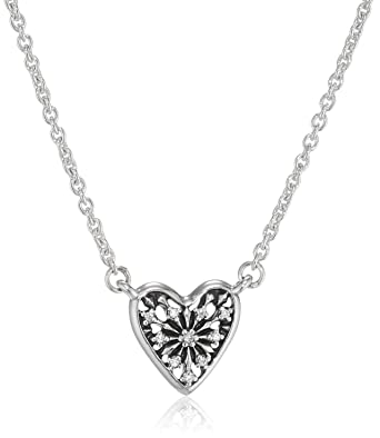 95575c076 Image Unavailable. Image not available for. Color: Pandora Sterling Silver  Heart of Winter Pendant & Necklace 396370CZ