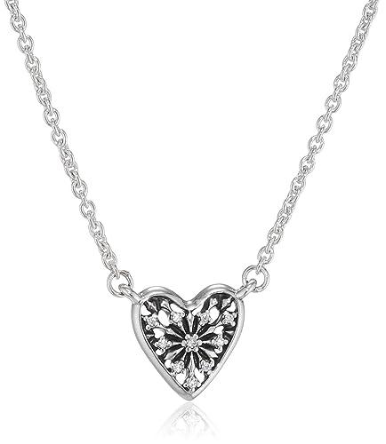 70a92a3b3356b2 Image Unavailable. Image not available for. Colour: Pandora Women Silver  Pendant Necklace - 396370CZ-45