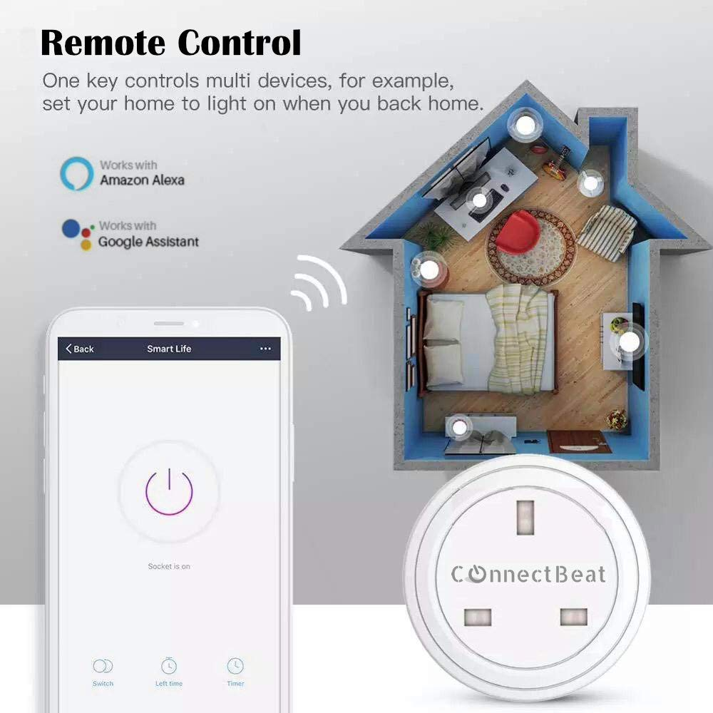 Google Home Energy Monitoring ConnectBeat WiFi Smart Plug no Hub Required Smart Plug Compatible with Alexa 1 Unit Timer Function IFTTT Schedule and Remote Control from Anywhere