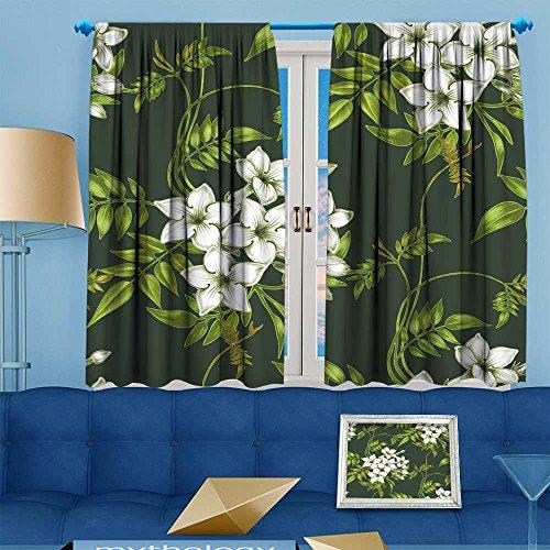 VROSELV Design Print Grommet top Thermal Insulated vector background jasmine flowers design for fabrics textiles paper wallpaper web Linen Room Darkening Curtains 55