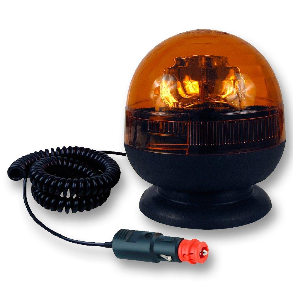 Eloto 4210 Gyrophare Orange Base magnétique + Ventouse - câble étirable 3m Prise Allume-Cigare 12/24 Volts - homologué E-Mark