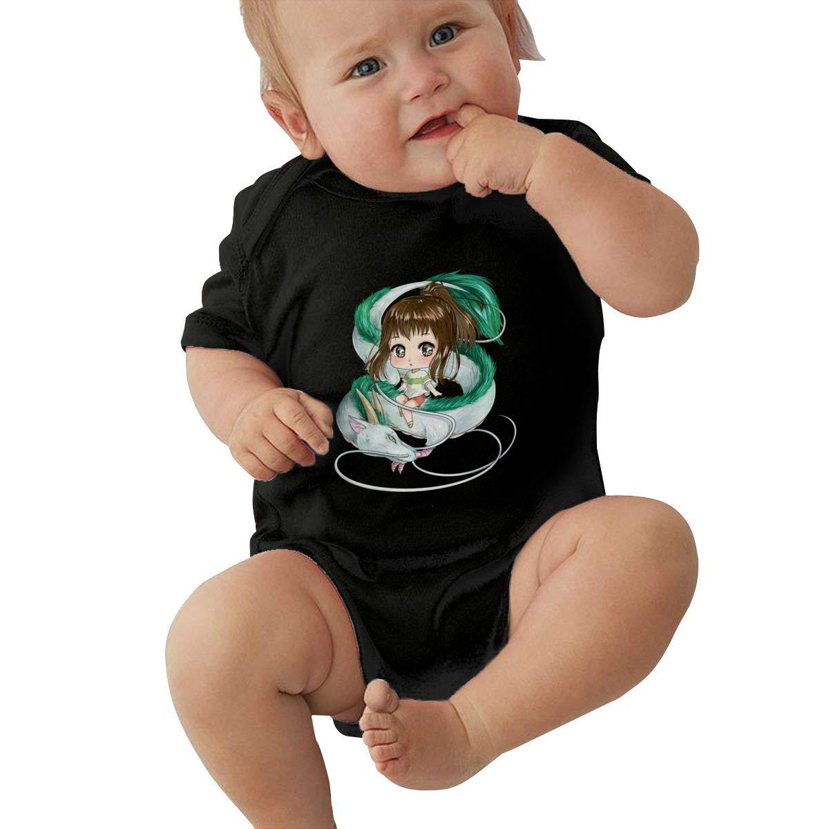 Juwuwenhuachua Baby Boy Girl Round Neck Short Sleeve Climbing Clothes Spirited Away Funny Jumpsuit Black
