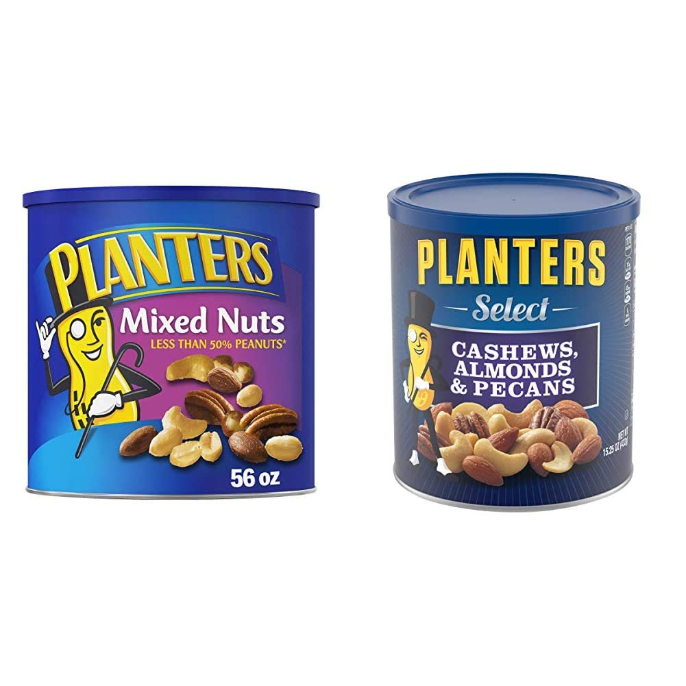 PLANTERS Mixed Nuts with Sea Salt, 56 oz. Resealable Canister - Roasted Nuts: Less Than 50% Peanuts, Almonds, Cashews & Select Cashews, Almonds & Pecans, 15.25 oz. Resealable Container - Salted Nuts