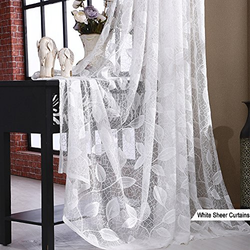 White Sheer Curtains Leaf Voile – Anady 2 Panel White Leaf Sheer Curtains for Living Room Grommet 100 inch Long(Customized Available)