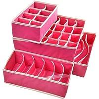 PUBAMALL Closet Underwear Organizer Drawer Divide by para ropa interior, sujetadores, calcetines, corbatas, pañuelos (Un juego de 4 paquetes) (Rosa)