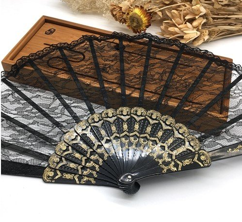 Black Fashion Vintage Spanish Lace Trim Hand Fan Portable Folding Hand Held Fan Party Dance Folding Hand Fan Home Decor