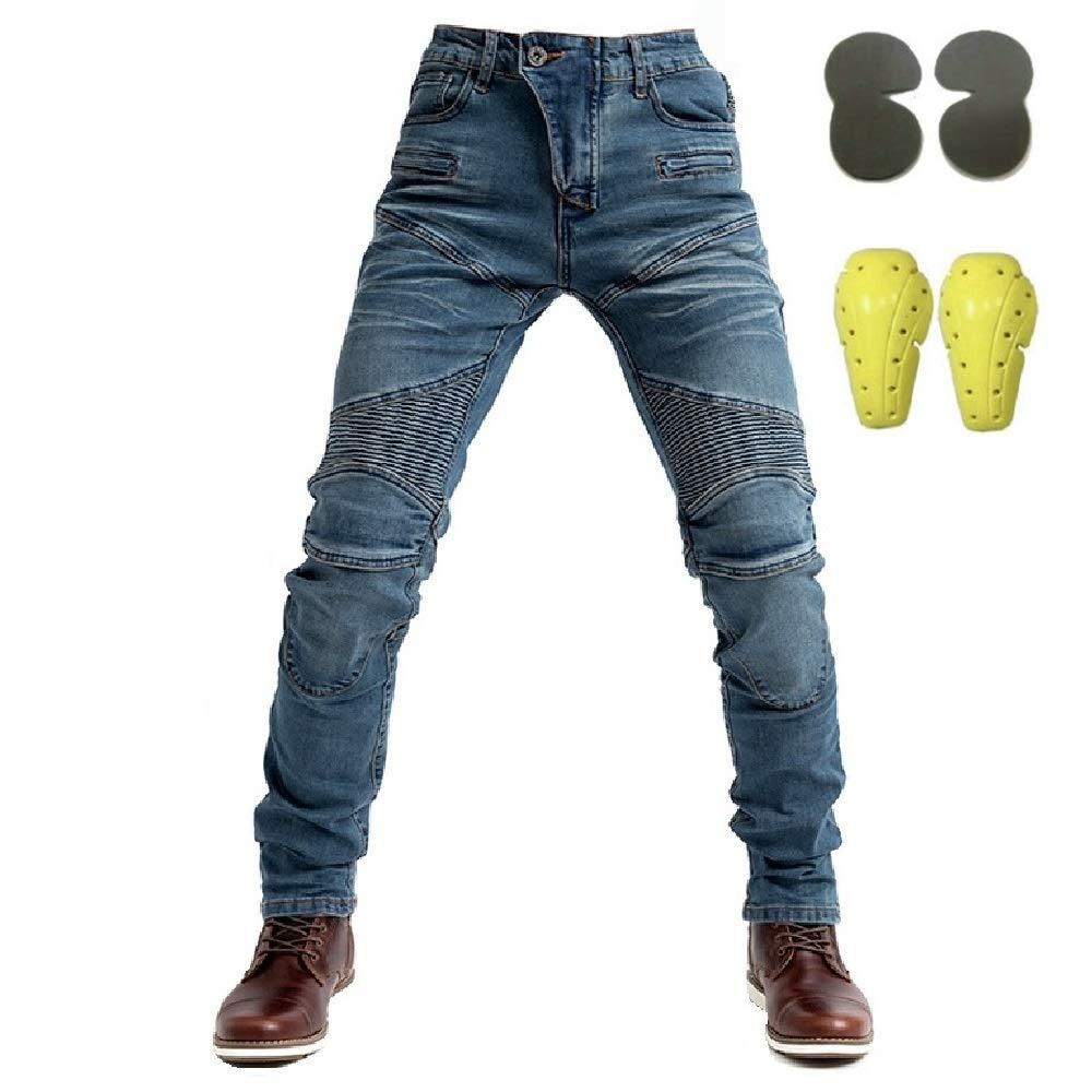 XXXL=38 con Inserti protettivi blu Uomo Jeans da motociclista 105cm Waist