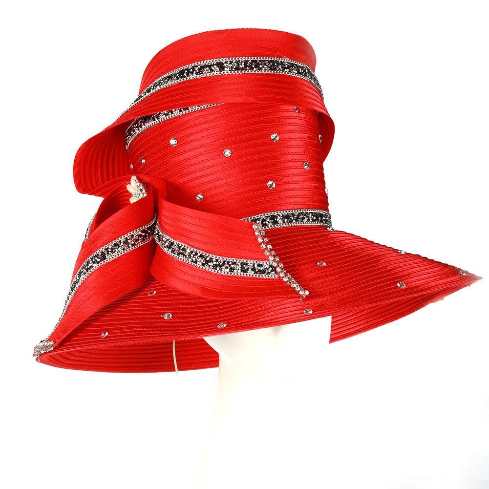 Koola Black Women Church Kentucky Derby Wide Brim Wedding Cocktail Party Hats (Red) by Koola (Image #2)