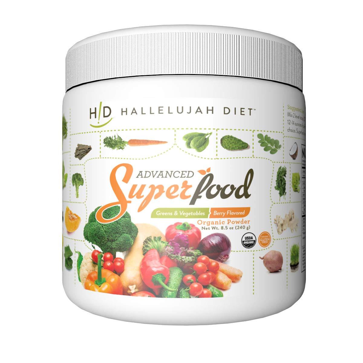 Advanced SuperFood, Greens and Vegetable Organic Powder - Berry, 8.5 oz. (240g), by Hallelujah Diet by Hallelujah Diet