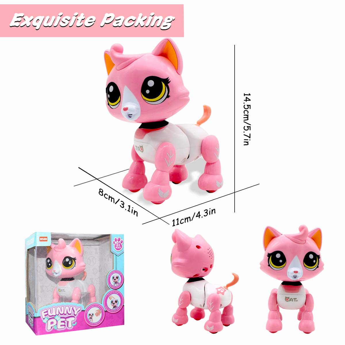 Yehtta Gifts for 3-8 Year Old Girls Robot Cat Toddler Interactive Toy Pet Autism Toys Electronic Toy Catty Kids Gifts Pink by Yehtta (Image #5)