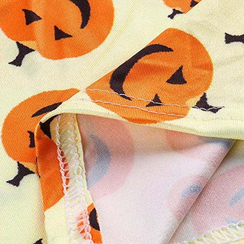 con de de Largo Baile de Calabazas de graduación Larga Vestido para Vestido Estampado de Absolute Amarillo Halloween Mujer ❤️ Manga 6qRFn