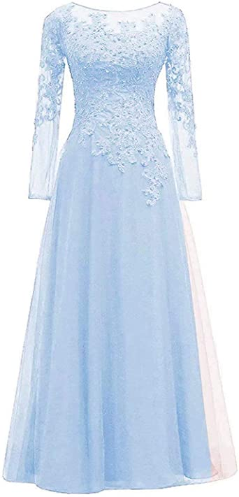 Women\u0027s Beaded Lace Appliques Mother of The Bride Dress Long Sleeves Tulle  Bridesmaid Dresses Evening Prom Gowns