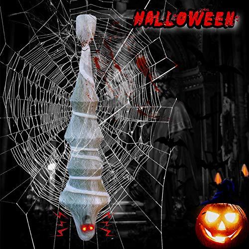 LUKAT Halloween Decorations Outdoor Hanging Cocoon Corpse Halloween Decor Props Indoor with Glowing Eyes, 75 Inch