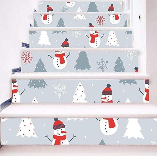 TtKj Pegatinas de escaleras Etiqueta engomada de la Escalera de Navidad muñeco de Nieve Navidad 3D Etiqueta engomada de la Pared: Amazon.es: Hogar