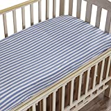 """NTBAY Toddler Fitted Crib Sheet 100% Organic Cotton with Striped Design, Soft and Cozy, Blue, 28""""x 52""""+10"""""""