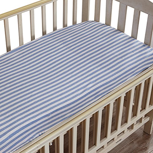 NTBAY Toddler Fitted Crib Sheet 100% Organic Cotton with Str