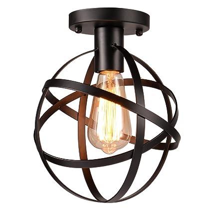 uarter pantallas de soporte Global bombillas lámpara de luz de techo Metal envejecido para downlight, apto para bombillas E26, Negro, jaula forma