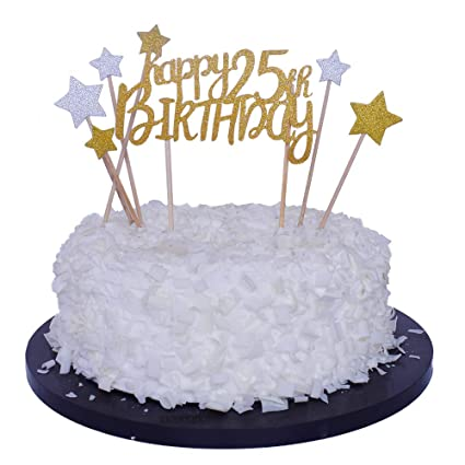 Amazon Sunny ZX Happy 25th Birthday Cake Topper For Party Decoration Toys Games