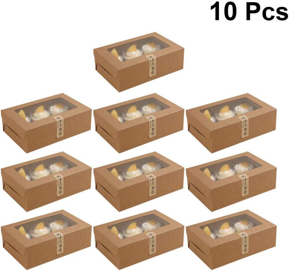 Caja de 10 piezas para macarons de NUOBESTY para macarones de papel kraft con ventana transparente para el hogar, tienda de postres (6 cavidades), papel, Imagen 1, 24 * 15.5 * 7.5cm: Amazon.es: Hogar