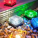 CoolFoxx Solar Powered LED Glass Brick Lawn Night Light - IP67 Waterproof Colorful Changing Christmas Festives Decorative Ice Rock Cube Lights for Yard Garden Pathway Patio-One Piece