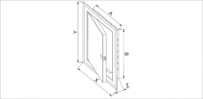 con serratura 40 x 60 cm Sportello di ispezione in lamiera dacciaio bianca