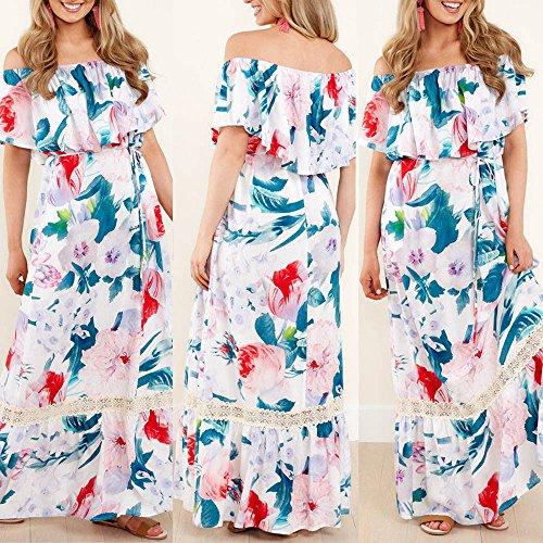 ... WINWINTOM Rockabilly Kleider Damen,Rockabilly Blumenmuster Festliche  Sommerkleid,Frauen Maxi Long Off Schulter Blumendruck ... 6273b104d9