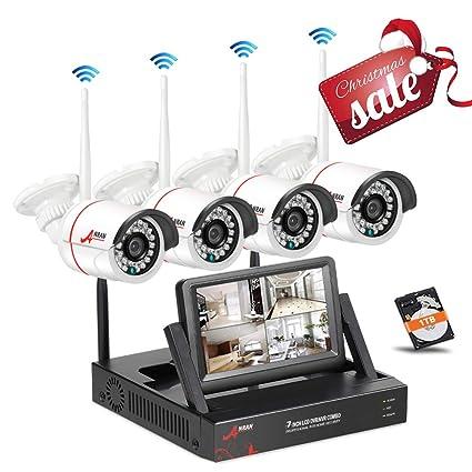 Kit Cámaras de vigilancia WiFi con Monitor de 7 Pulgadas, SWINWAY Sistema de Cámaras de