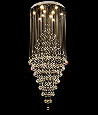 """7PM W32"""" X H90"""" Luxury Modern Contemporary Crystal Chandelier Round LED  Rain Drop Lamp for Hall Way Hotel Staircase Lighting Fixture - - Amazon.com"""