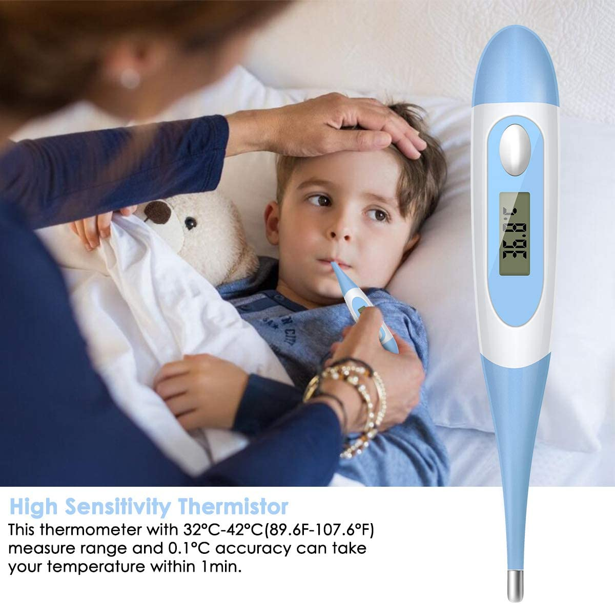 DaMohony Digital Body Thermometer Flexible Tip Armpit and Oral Temperature Meter with Fever Alarm LCD Display Thermometer for Baby Kids Adult