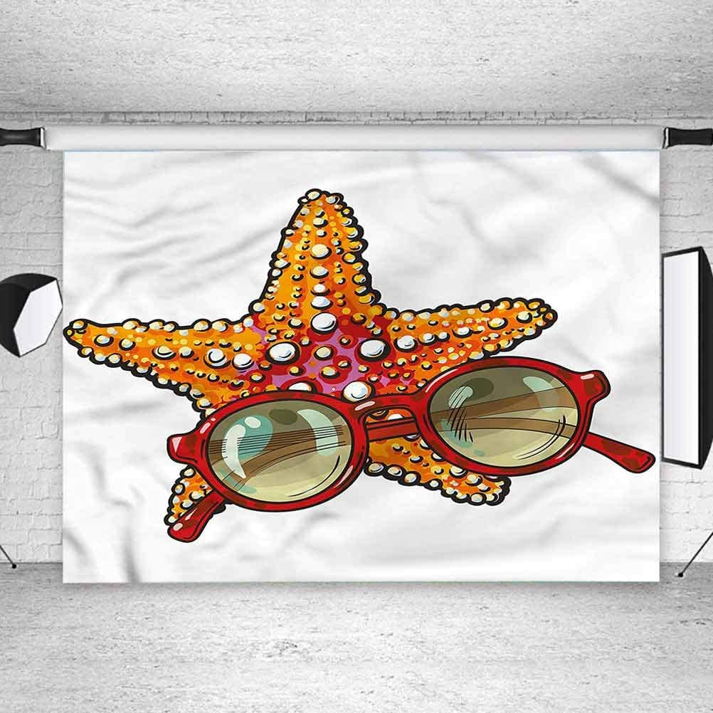 6x6FT Vinyl Backdrop Photographer,Starfish,Tropical Holiday Background for Baby Birthday Party Wedding Graduation Home Decoration