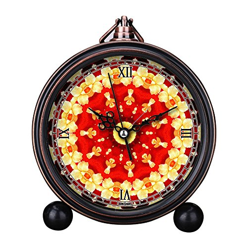 Girlsight Art Retro Living Room Decorative Non-ticking, Easy to Read, Quartz, Analog Large Numerals Bedside Table Desk Alarm Clock-B4011.Abstract Art,