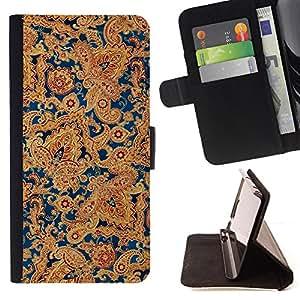 - Indian Carpet Golden Blue Floral - Estilo PU billetera de cuero del soporte del tir???¡¯????n [solapa de cierre] Cubierta- For Samsung Galaxy S6 EDGE £¨ Devil Case £©