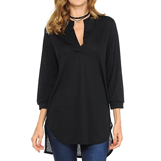 7b5c63993af1 OrchidAmor Women Fashion Summer V-Neck Cotton Fashion Tops Shirt Blouse  Black