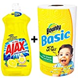 Ajax Dishwashing Liquid Dish Soap 28 Ounce - Lemon, Super Degreaser and Bounty Paper Towel 1 Roll Bundle