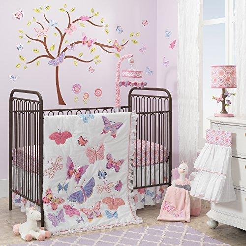 Lambs & Ivy Happi by Dena 4 Piece Butterfly Garden Crib Bedding Set, White/Pink/Purple [並行輸入品]   B07GJGGHNL