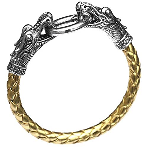 eccd0ccc0104 Mese Londres piel dragón pulsera negro/oro/plata hombres de Viking de  serpiente cabeza