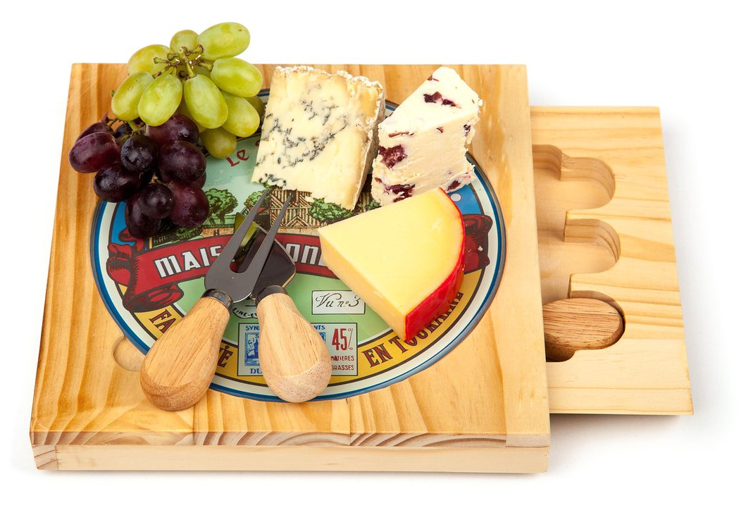 Occasion Square Cheese Board with Printed Removable Glass PlateTop and 3 Cheese Knives Carousel Home
