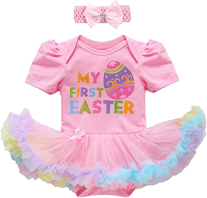2019 My 1st Easter Toddler Kids Baby Girl Rabbit Party Dress Casual Clothes UK