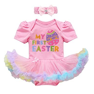 3PCS 2PCS Newborn Infant Toddler Baby Girl First 1st Easter Outfit Set  Colorful Eggs Bunny 8a55ed7e8981