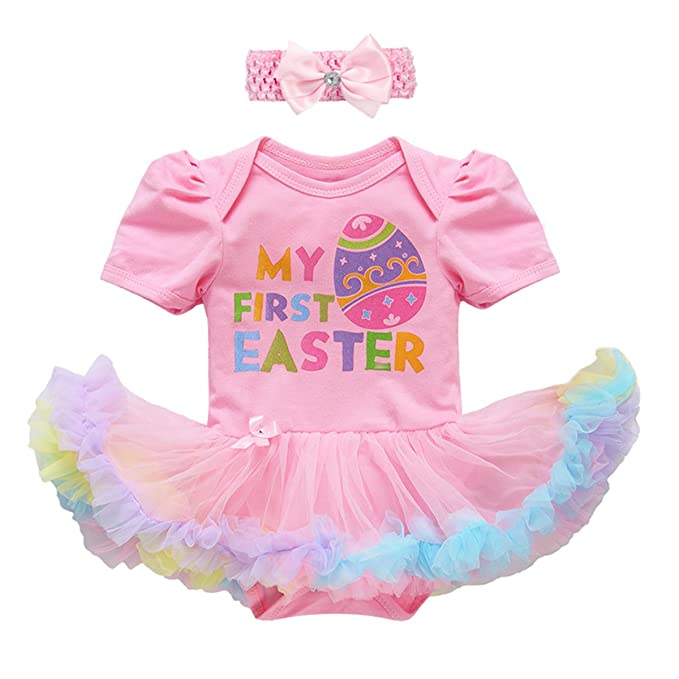 018d6e6fdd54 Newborn Infant Toddler Baby Girl First 1st Easter Outfits Set Colorful Eggs  Bunny Rabbit Printed Romper Tutu Dress Headband Leggings Leg Warmers Shoes  ...