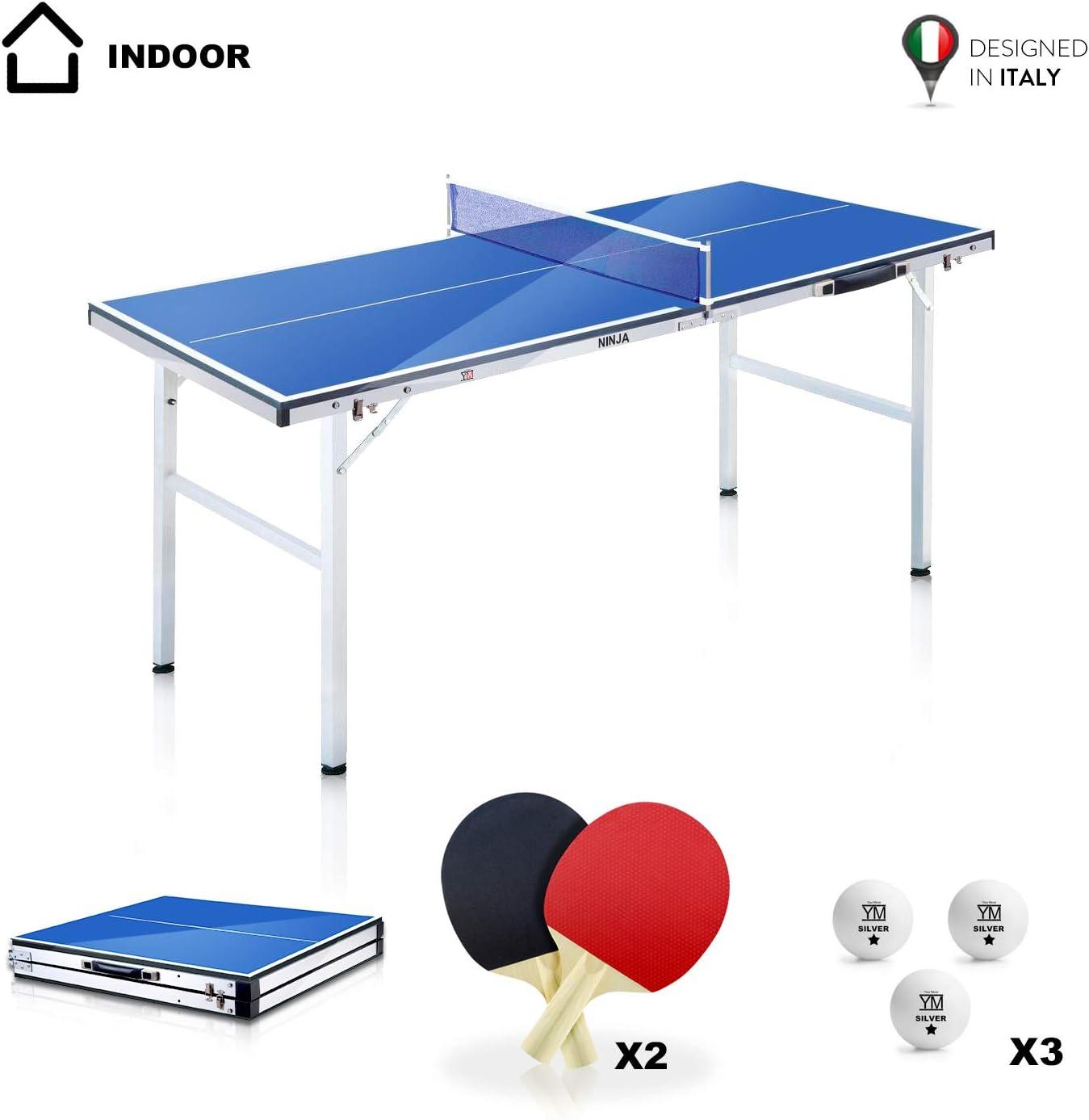 YM Mesa Ping Pong Mini plegable NINJA Mini plegable en maletín, portátil y compacto, estructura de acero con tubos de 25 mm. Incluye raquetas y bolas. Tamaño abierto: 150 x 67 x 69 cm.