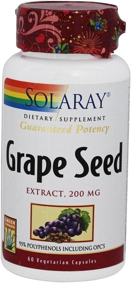 Solaray Guaranteed Potency Grape Seed Extract, Veg Cap (Btl-Plastic) 200mg | 60ct