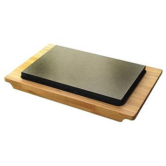 Typhoon - Bandeja de piedra caliente y bambú para servir carne y ...