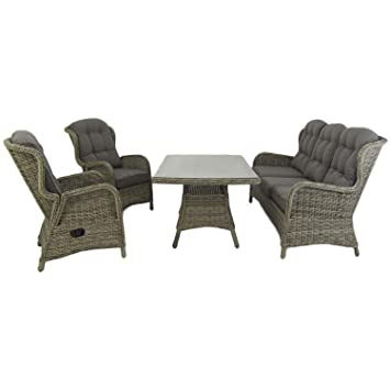 Conjunto sofás de jardín | Mesa Centro 140 cm, 2 butacas y 1 ...